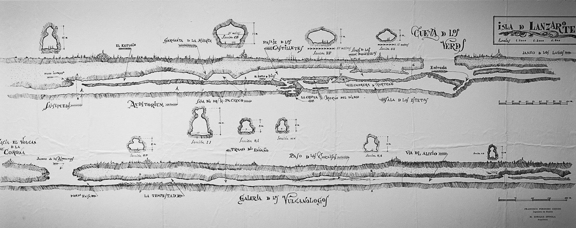 Plano geológico de la Cueva de los Verdes (Lanzarote)